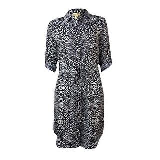 Maison Jules Women's Animal Print Belted Shirtdress - xs