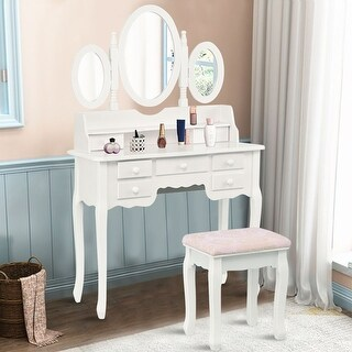 Costway Make up Vanity Table Set Tri-folding Mirror 7 Drawer With stool