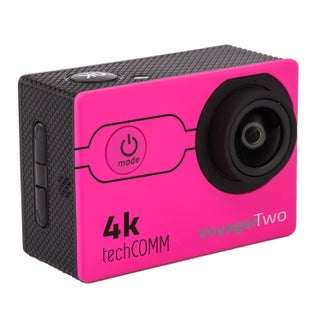 TechComm Voyager Two 4K Sports Action Wi-Fi Camera with 16MP Sony CMOS Sensor, Waterproof Case and 170-Degree Wide Angle View (Option: Pink - New - 2 in. or Less)