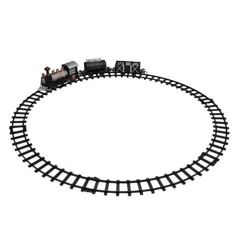 9-Piece Battery Operated Black and Silver Lighted & Animated Classic Train Set with Sound
