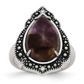 Chisel Stainless Steel Polished/Antiqued Amethyst Teardrop Polished Ring