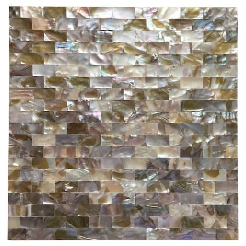 """Art3d 12""""x12"""" Mother of Pearl Tile Rectangle White&Brown Seamless (10-Pack)"""
