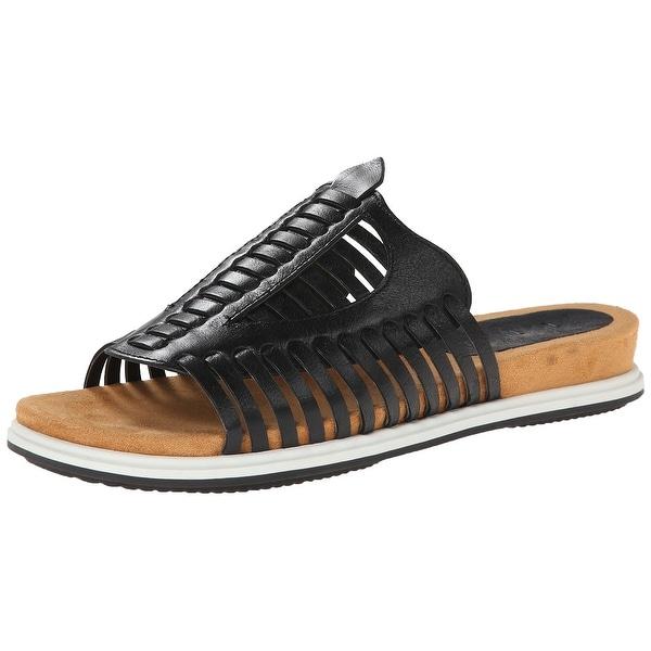 Naya NEW Black Women's Shoes Size 6W Kicker Leather Slides