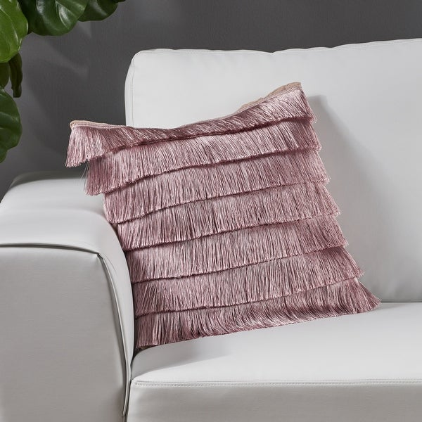 Bantry Glam Fabric Square Pillow Cover with Fringes by Christopher Knight Home