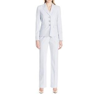 Le Suit NEW Blue Women's Size 4 Notched Collar Solid Pant Suit Set