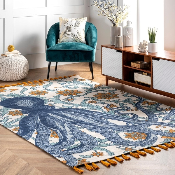 nuLOOM Handmade by Thomas Paul Cotton Printed Octopus Area Rug. Opens flyout.