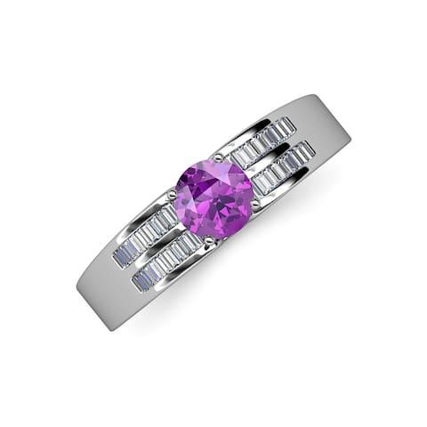 TriJewels Amethyst Diamond 1 3/8 ctw Womens Engagement Ring 14K Gold