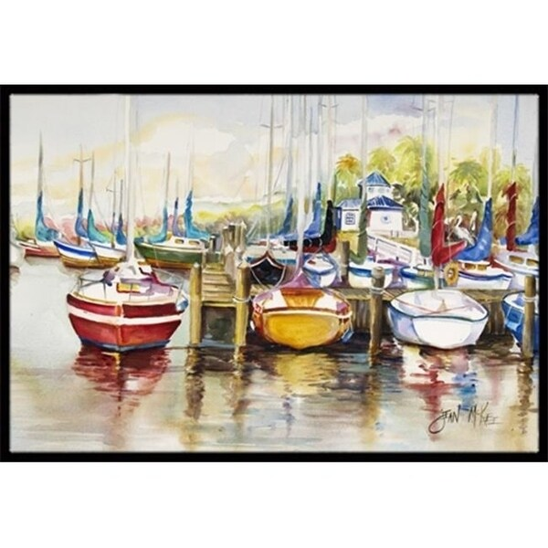 Carolines Treasures JMK1064JMAT Paradise Yacht Club Ii Sailboats Indoor & Outdoor Mat 24 x 36 in.
