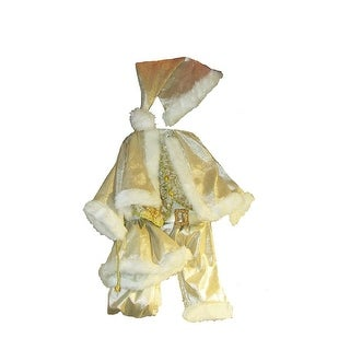 """36"""" Gold and White Decorative Santa Claus Christmas Suit Costume with Hat"""