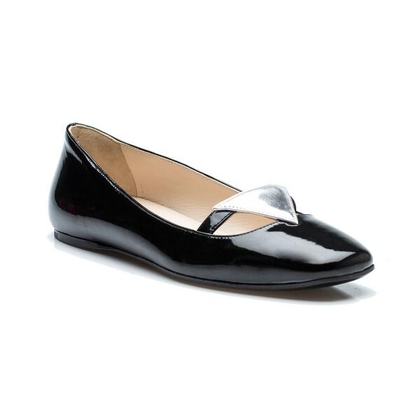 Prada Women's Ballerina Flat Black Patent Leather Shoes