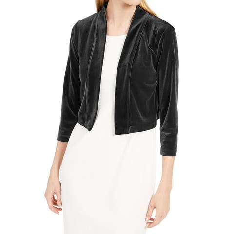 Calvin Klein Women's Jacket Black Size Medium M Open Front Velvet Shrug