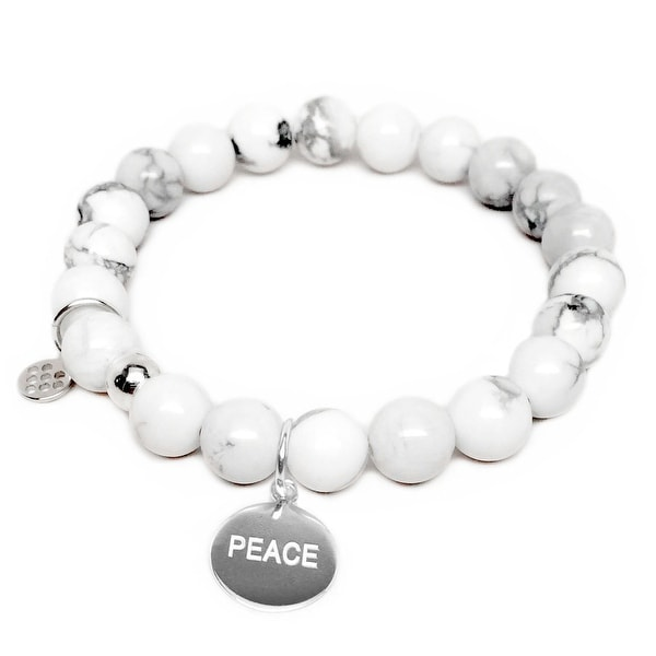 "White Howlite Peace Silver Charm Lucy 7"" Bracelet"