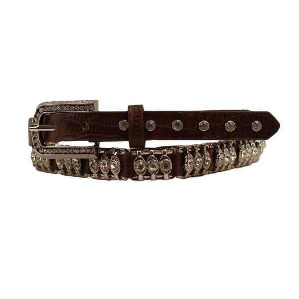 Nocona Western Belt Womens Croc Print Metal Bars Crystals