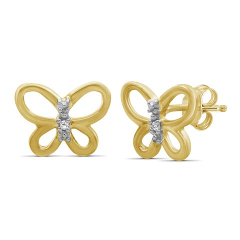 JewelonFire Accent White Diamond Butterfly Earring in Gold over Silver