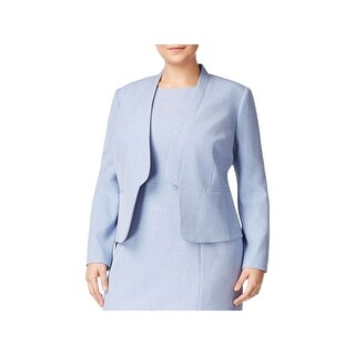 Nine West Womens Plus Blazer Heathered Flange Collar