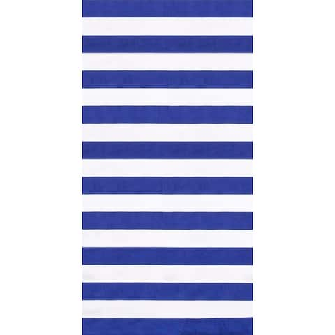 Horizontal Cabana Blue 30x60 Brazilian Velour Beach Towel