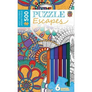 """Jigsaw Adult Coloring Puzzle W/Markers 500 Pieces 14""""X19""""-Mandala Collage"""