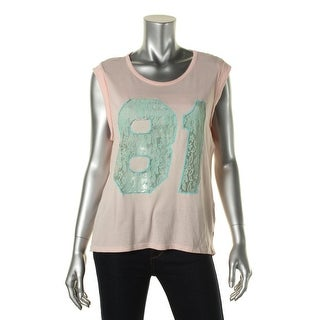 Guess Womens Lace-Trim Rolled Sleeve T-Shirt - L