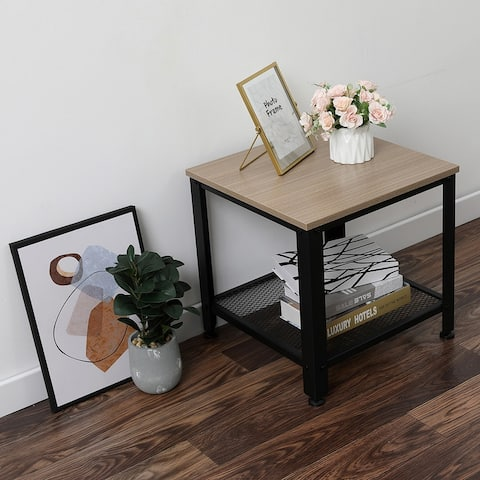 """45.8"""" Wide Square Wood Side Table - 18.3*18.3*17.72"""