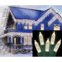 Set of 70 Warm White LED M5 Icicle Christmas Lights - Green Wire - Clear