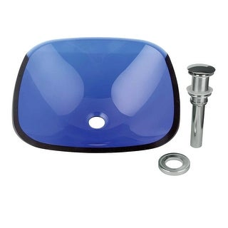 Tempered Glass Sink with Drain, Square Single Layer Blue Bayou Bowl Sink