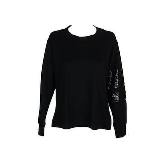 Chelsea Sky Rich Black French Terry Sequin-Detail Top M