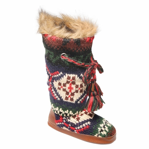 Shop Womens Lodge Cable Knit Tall Fur Lined Slipper Boots Free