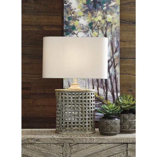"Deondra Farmhouse Gray Galvanized Metal Table Lamp - 19"" W x 11.25"" D x 28.75"" H. Opens flyout."