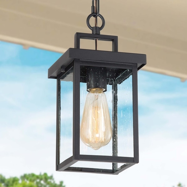 """Modern Industrial 1-light Square Sand Black Outdoor Ceiling Lights - L 6""""x W 6""""x H 10.5"""". Opens flyout."""