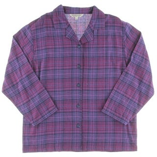 Alexander Del Rossa Mens Sleep Shirt Plaid Long Sleeves - L