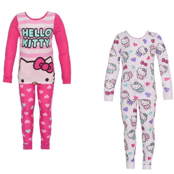 2ab7bc34a Shop Hello Kitty Little Girls Fuchsia Character Heart Print 2 Pajama Sets  Pack - Free Shipping On Orders Over $45 - Overstock - 18175334