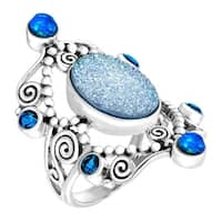 Sajen Natural Pariba Druzy & Opal Quartz Scroll Ring in Sterling Silver