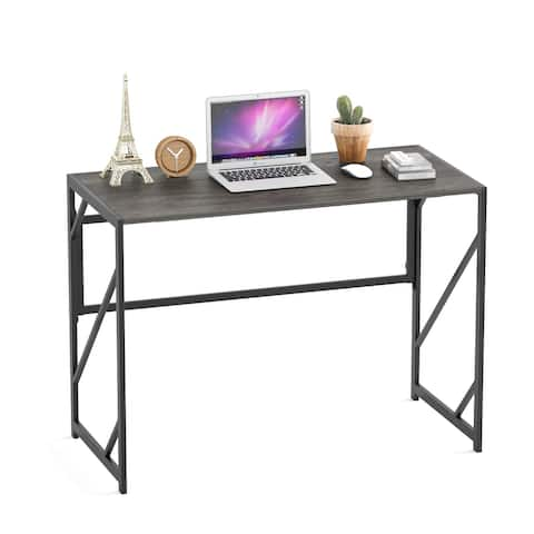 Elephance Foldable Wood and Metal Computer Desk Folding Writing Table Home Office