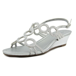 Bandolino Giani Women Open Toe Canvas Silver Wedge Sandal