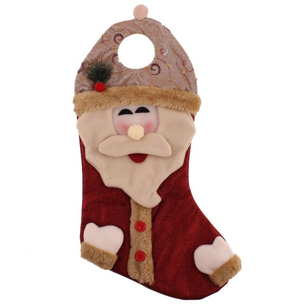 Christmas Day Cotton Blends Santa Claus Felt Stocking Gift Holder Burgundy Beige