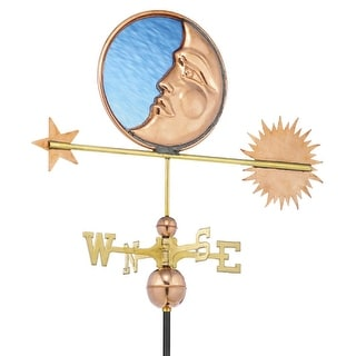 "34"" Luxury Polished Copper Stained Glass Moon, Sun and Star Weathervane"