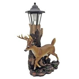 Whitetail Illuminated Deer Statue with Lantern