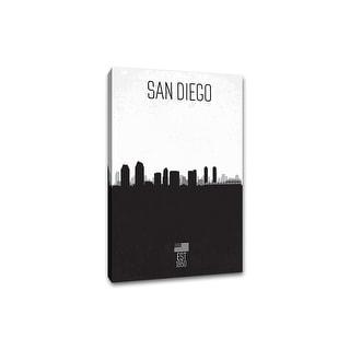 san diego distressed skyline art 24x36 gallery wrapped canvas wall art bu0026w