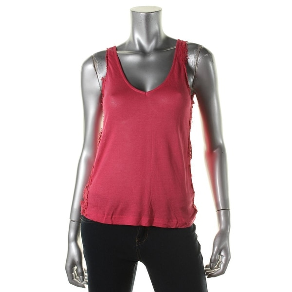 Zara T-Shirt Collection Womens Tank Top Knit Lace Trim