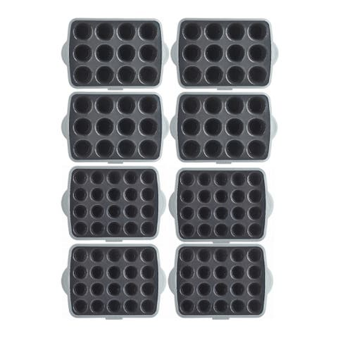 Trudeau Muffins Pans for the Masses/Cupcakes (Black/Gray, 8-Pack)