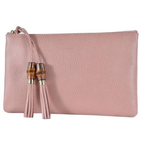 Gucci 449652 Pink Leather Bamboo Tassel Pull Zip Top Clutch Pouch Purse