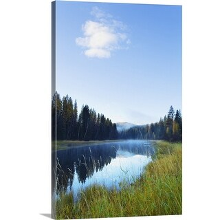 """""""Forest reflection in Stillwater River, Montana"""" Canvas Wall Art"""