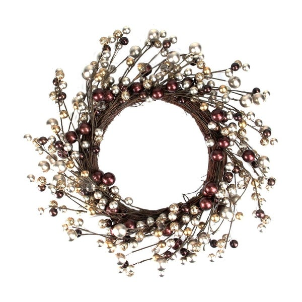"20"" Autumnal Bliss Ball Ornaments on a Natural Vine Wrapped Wreath - brown"