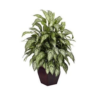 Nearly Natural Silver Queen with Decorative Planter - Silk Plant Green
