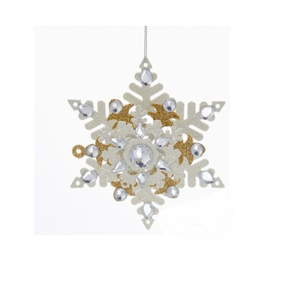"""5.5"""" Metallic Gold and White Snowflake with Glitter and Gems Christmas Ornament"""
