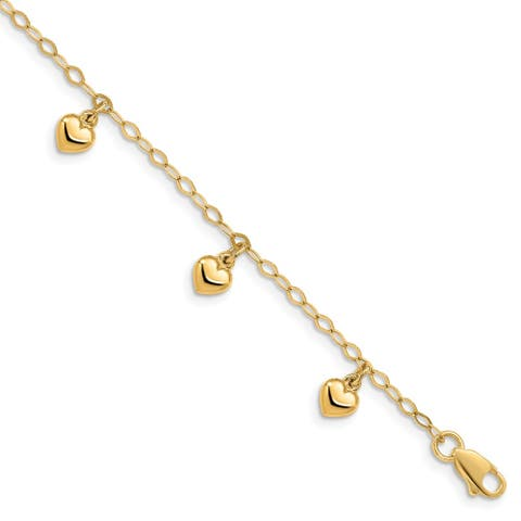 "14k Yellow Gold 6mm Child's Puffed Heart Charm Bracelet, 6"""