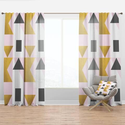 Designart 'Triangular Gold Design' Mid-CenturyCurtain Panel