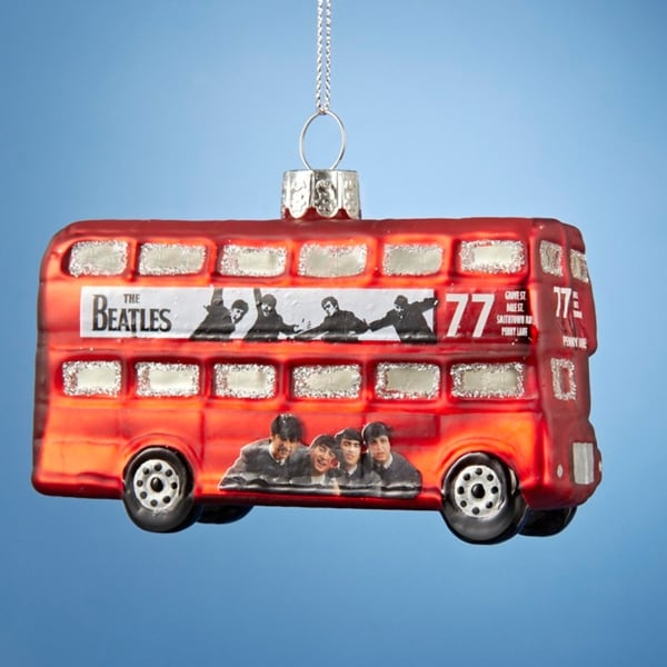 "2"" The Beatles Glass ""Hard Days Night"" Red Bus Decorative Christmas Ornament"
