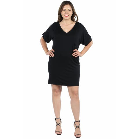24seven Comfort Apparel V Neck Loose Fit Plus Size Resort Dress