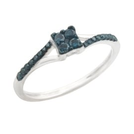 Fabulous 0.19ct Round Brilliant Cut Blue Color Traterd Natural Diamond Engagement Ring